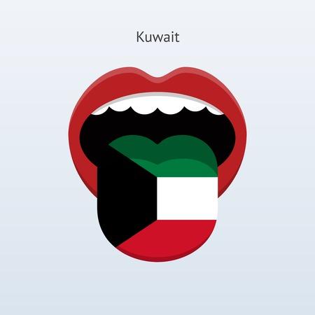 linguistics: Kuwait language. Abstract human tongue. Vector illustration.