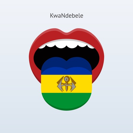 linguistics: KwaNdebele language. Abstract human tongue. Vector illustration.