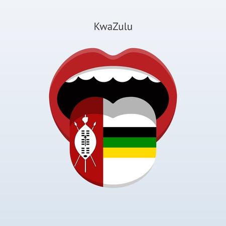 linguistics: KwaZulu language. Abstract human tongue. Vector illustration.