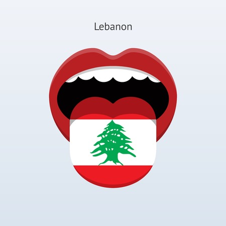 linguistics: Lebanon language. Abstract human tongue. Vector illustration.