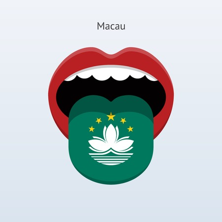 macau: Macau language. Abstract human tongue. Vector illustration.