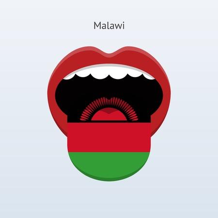 linguist: Malawi language. Abstract human tongue. Vector illustration.
