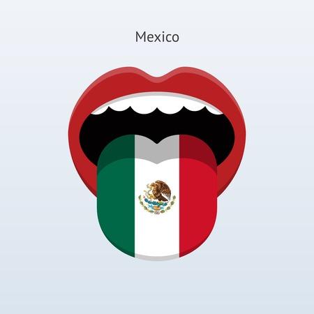 linguist: Mexico language. Abstract human tongue. Vector illustration.