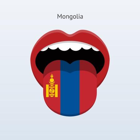 linguist: Mongolia language. Abstract human tongue. Vector illustration. Illustration