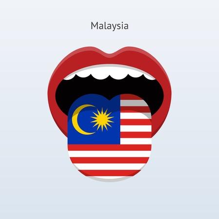 Malaysia language. Abstract human tongue. Vector illustration. Çizim
