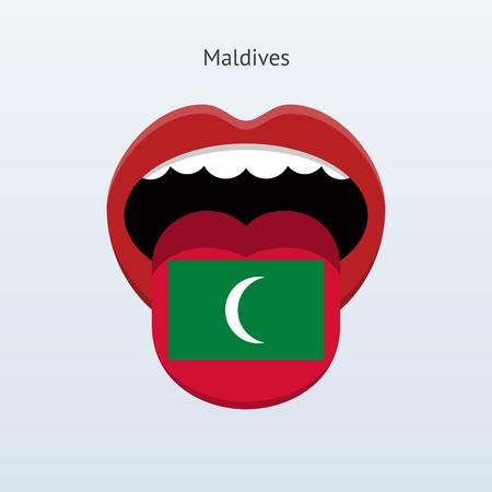 linguist: Idioma Maldivas. Lengua humana abstracta. Ilustraci�n del vector.