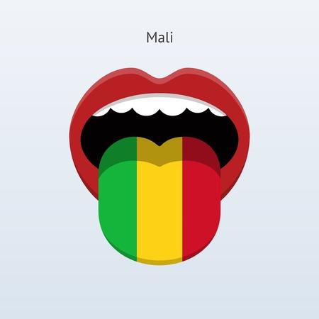 linguist: Mali language. Abstract human tongue. Vector illustration.
