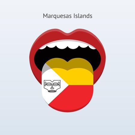 Marquesas Islands language. Abstract human tongue. Vector illustration. Illustration