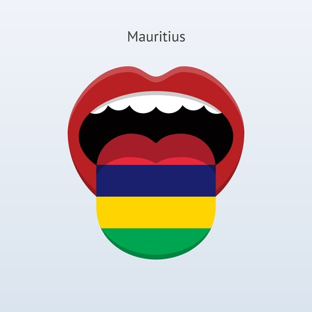 linguist: Mauritius language. Abstract human tongue. Vector illustration.