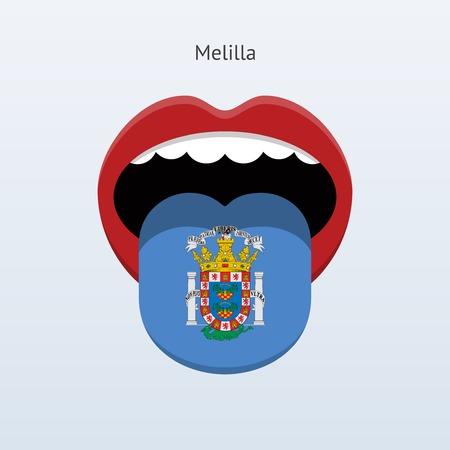 linguistics: Melilla language. Abstract human tongue. Vector illustration.