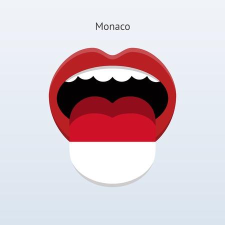 linguist: Monaco language. Abstract human tongue. Vector illustration.