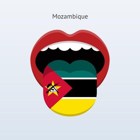 linguistics: Mozambique language. Abstract human tongue. Vector illustration.