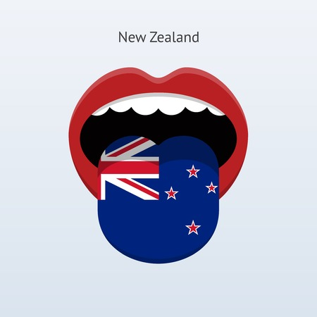 linguist: New Zealand language. Abstract human tongue. Vector illustration. Illustration