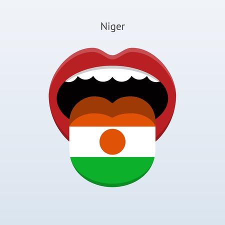 linguist: Niger language. Abstract human tongue. Vector illustration.