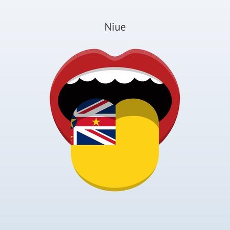 Niue language. Abstract human tongue. Vector illustration. Çizim