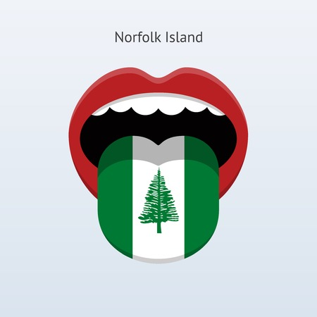 linguistics: Norfolk Island language. Abstract human tongue. Vector illustration.