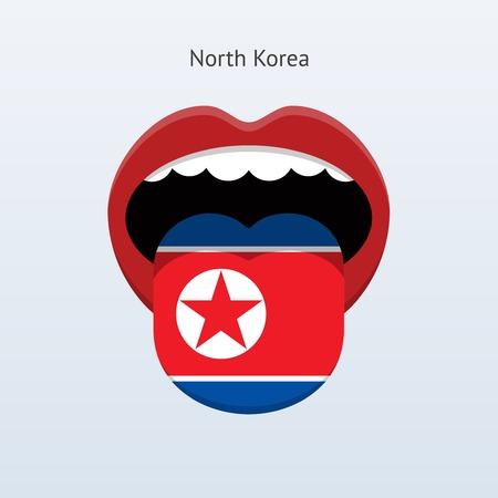 linguistics: North Korea language. Abstract human tongue. Vector illustration.