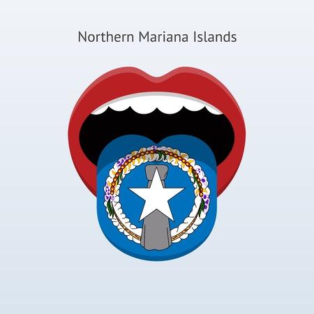linguist: Idioma del Norte Islas Marianas. Lengua humana abstracta. Ilustraci�n del vector.