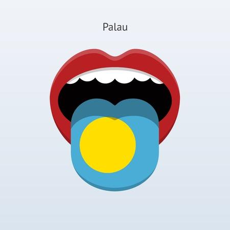 linguistics: Palau language. Abstract human tongue. Vector illustration.