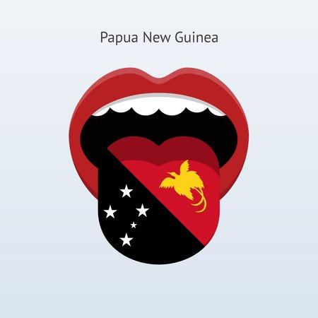 linguist: Papua New Guinea language. Abstract human tongue. Vector illustration.