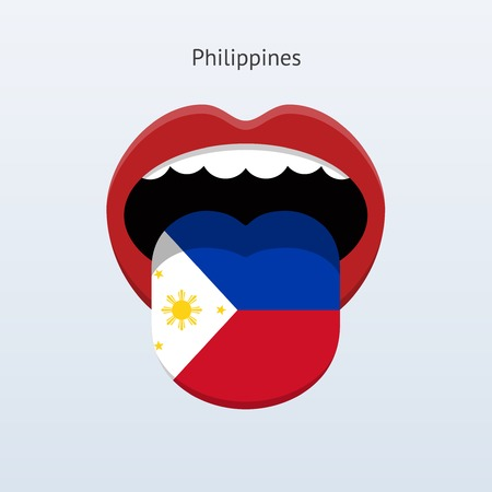 philippines: Philippines language. Abstract human tongue. Vector illustration.