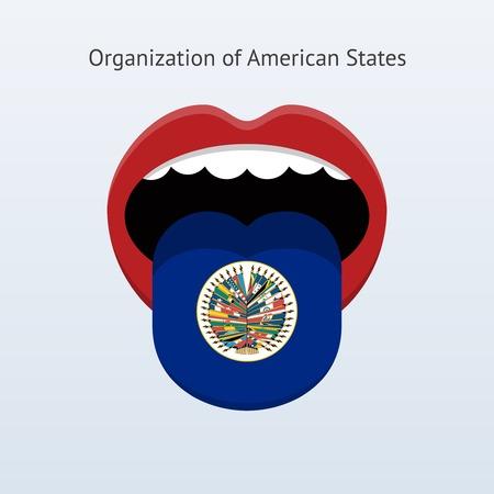 Organization of American States language. Abstract human tongue. Vector illustration. Çizim