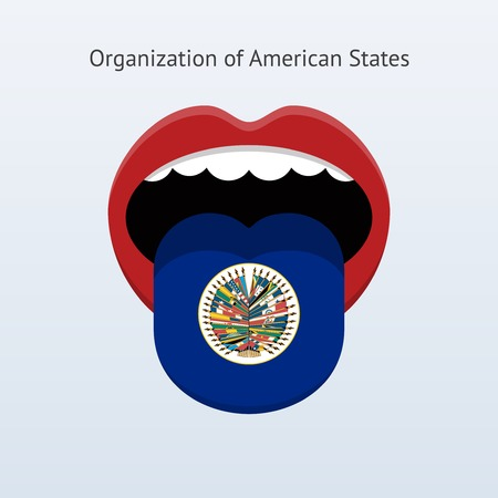 linguist: Organization of American States language. Abstract human tongue. Vector illustration. Illustration