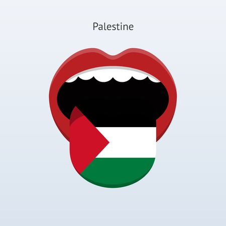 linguist: Palestine language. Abstract human tongue. Vector illustration.
