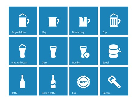 draughts: Beer and alcohol glasses icons on blue background.