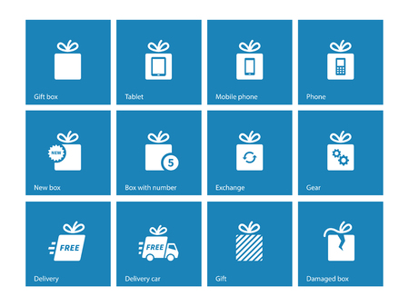 giftware: Gift box icons on blue background.