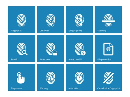 safeness: Fingerprint icons on blue background.