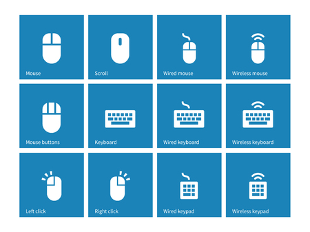clavier: Mouse and keyboard icons on blue background.