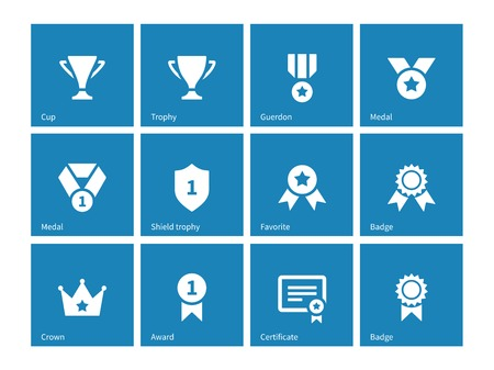 favorite number: Awards icons on blue background.