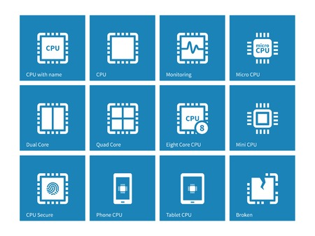 semiconductors: Electronic chip icons on blue background.