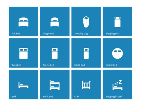 full suspended: Furniture and bed icons on blue background. Illustration