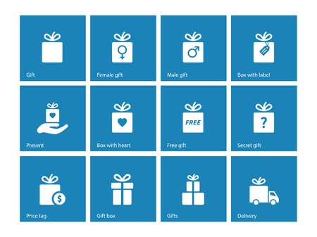 paper delivery person: Collection of present boxes on blue background.