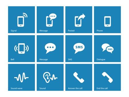 telecommunications equipment: Phone icons on blue background. Illustration