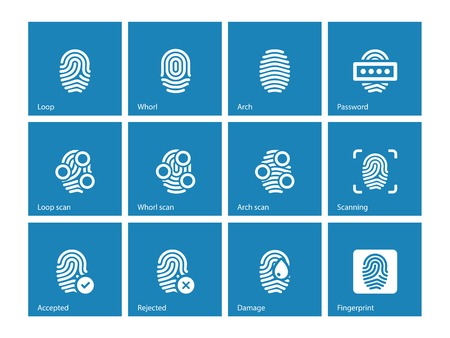 lock symbol: Fingerprint and thumbprint icons on blue background.