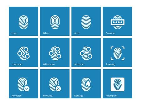 Fingerprint and thumbprint icons on blue background.