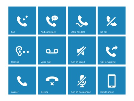 voice mail: Phones related icons on blue background. Illustration