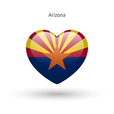 heart of love: Love Arizona state symbol. Heart flag icon. Illustration