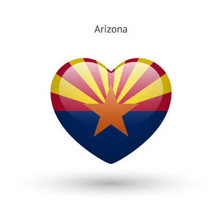 Love Arizona state symbol. Heart flag icon. Illustration