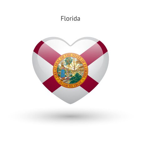 florida state: Love Florida state symbol. Heart flag icon.