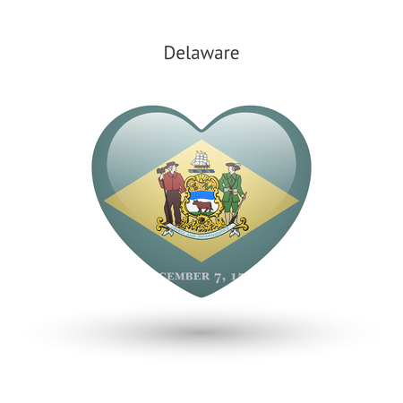 dover: Love Delaware state symbol. Heart flag icon.