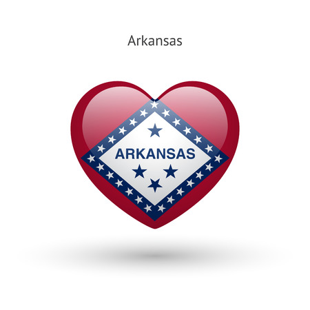 heart love: Love Arkansas state symbol. Heart flag icon. Illustration