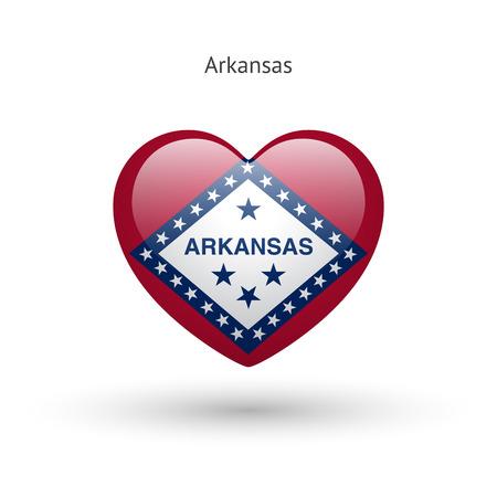 ar: Love Arkansas state symbol. Heart flag icon. Illustration