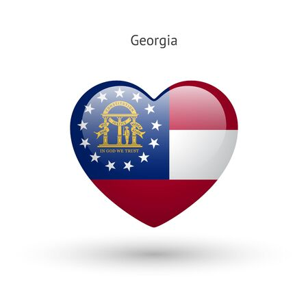 heart love: Love Georgia state symbol. Heart flag icon.
