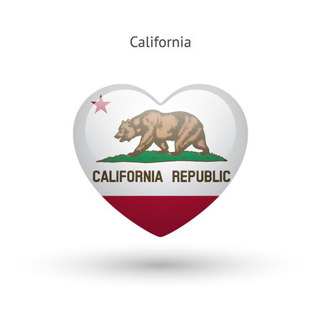 glass heart: Love California state symbol. Heart flag icon.
