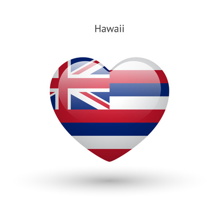 heart in love: Love Hawaii state symbol. Heart flag icon.