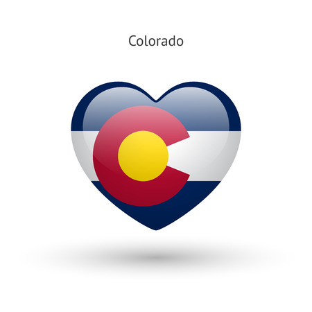 denver colorado: Love Colorado state symbol. Heart flag icon.